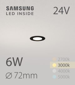 Faretto da Incasso Rotondo Slim Nero 6W BIANCO CALDO - Downlight - LED Samsung