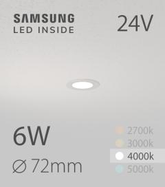 Faretto da Incasso Rotondo Slim 6W BIANCO NATURALE - Downlight - LED Samsung