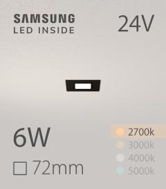 Faretto da Incasso Quadrato Slim Nero - 6W LUCE CALDA - Downlight - LED Samsung