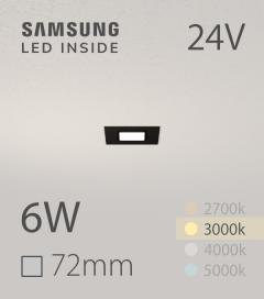 Faretto da Incasso Quadrato Slim Nero 6W BIANCO CALDO - Downlight - LED Samsung