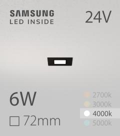 Faretto da Incasso Quadrato Slim Nero 6W BIANCO NATURALE - Downlight - LED Samsung