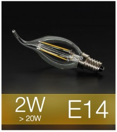 Lampadina LED Filamento E14 2W Fiamma (20W) - 2700K Bianco CALDO