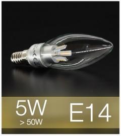 Lampadina LED  E14 4W Candela con base in ALLUMINIO - Bianco CALDO