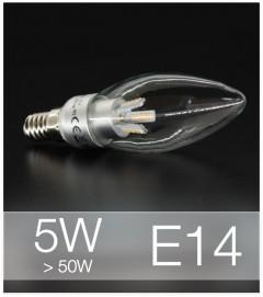Lampadina LED  E14 4W Candela con base in ALLUMINIO - Bianco NATURALE