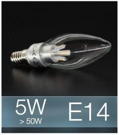 Lampadina LED  E14 4W Candela con base in ALLUMINIO - Bianco FREDDO