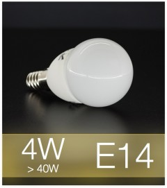 Lampadina LED  E14 4W Globo con base in ceramica - Bianco CALDO