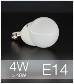 Lampadina LED  E14 4W Globo con base in ceramica - Bianco NATURALE