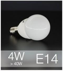 Lampadina LED  E14 4W Globo con base in ceramica - Bianco NATURALE