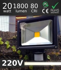 FARO LED 20W da Esterno con rilevatore di presenza - BIANCO CALDO