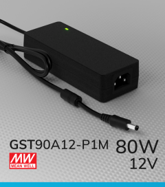 Alimentatore switching da tavolo a uscita singola 80W Meanwell - GST90A-12-P1M - 12V