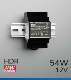 Alimentatore Meanwell HDR-60-12 - 54W - Barra DIN