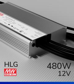 Alimentatore Meanwell HLG-600H-12 12V 480W  Resistente all'acqua - Versione Standard, A e B