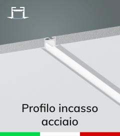 Profilo in Alluminio da Incasso Rapido nel Cartongesso per Strisce LED - ACCIAIO Lucido