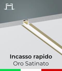 Profilo in Alluminio da Incasso Rapido nel Cartongesso per Strisce LED -  Oro Satinato