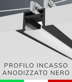 Profilo in Alluminio da Incasso Rapido nel Cartongesso per Strisce LED - Ossidato NERO