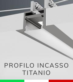 Profilo in Alluminio da Incasso Rapido nel Cartongesso per Strisce LED - Ossidato TITANIO