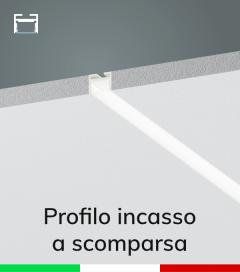 Profilo in Alluminio da Incasso a Scomparsa nel Cartongesso per Strisce LED - Verniciato BIANCO RAL9010