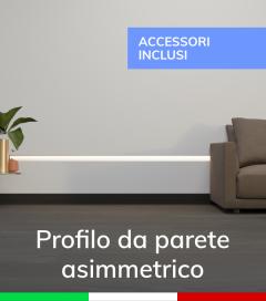 Profilo in Alluminio Da Parete con Riflettore per Strisce LED - Ossidato ARGENTO - SISTEMA DI AGGANCIO COMPRESO NEL PREZZO!