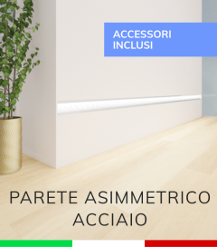 Profilo in Alluminio Da Parete con Riflettore per Strisce LED - ACCIAIO Lucido - TAPPI E KIT DI MONTAGGIO COMPRESI!