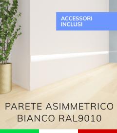 Profilo in Alluminio Da Parete con Riflettore per Strisce LED - Verniciato BIANCO RAL9010 - TAPPI E KIT DI MONTAGGIO COMPRESI!