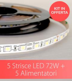 "OFFERTA: KIT 5 Strisce LED ""ENTRY"" - 5 Metri - 72W - SMD5050 IP20 o IP65 + Alimentatori Correttamente Dimensionati"