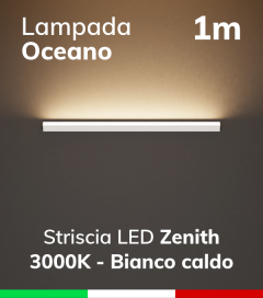 SUPER OFFERTA: Lampada LED da Parete Oceano - Verniciato Bianco - 100cm - Striscia LED ZENITH  3000K