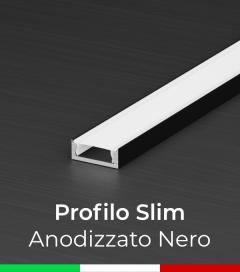 Profilo Piatto in Alluminio SLIM per Strisce LED - Anodizzato Nero