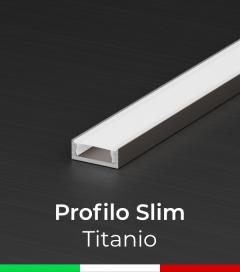 Profilo Piatto in Alluminio SLIM per Strisce LED - Ossidato TITANIO