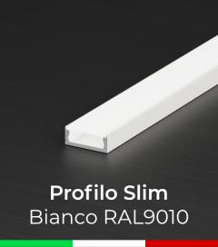Profilo Piatto in Alluminio SLIM per Strisce LED - Verniciato Bianco
