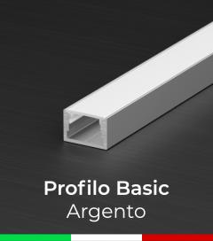 """Profilo in Alluminio """"Basic"""" Lineare per Strisce LED - Ossidato ARGENTO"""