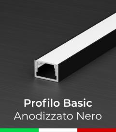 """Profilo in Alluminio """"Basic"""" Lineare per Strisce LED - Anodizzato NERO"""