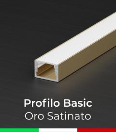 """Profilo in Alluminio """"Basic"""" Lineare per Strisce LED -  Oro Satinato"""
