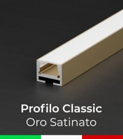 Profilo in Alluminio Piatto Design Classic per Strisce LED -  Oro Satinato