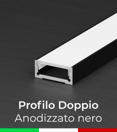 Profilo in Alluminio Piatto Doppio per Strisce LED - Copertura PIATTA - Anodizzato NERO