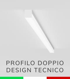 Profilo in Alluminio Piatto Doppio Strisce LED - Copertura TECNICA - Ossidato ARGENTO