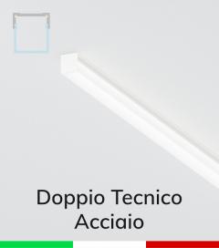 Profilo in Alluminio Piatto Doppio Strisce LED - Copertura TECNICA - ACCIAIO Lucido