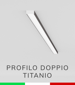 Profilo in Alluminio Piatto Doppio per Strisce LED - Copertura PIATTA - Ossidato TITANIO
