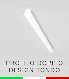 Profilo in Alluminio Piatto Doppio Strisce LED - Copertura TONDA - Ossidato ARGENTO