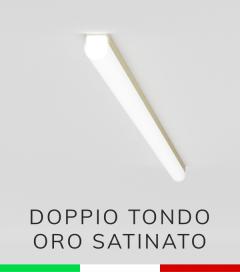 Profilo in Alluminio Piatto Doppio Strisce LED - Copertura TONDA -  Oro Satinato