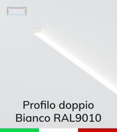 Profilo in Alluminio Piatto Doppio per Strisce LED - Copertura PIATTA - Verniciato BIANCO RAL9010