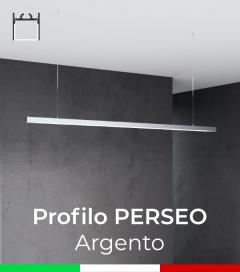 """Profilo in Alluminio da Sospensione """"Perseo"""" 37x37mm per Strisce LED - Anodizzato Argento"""