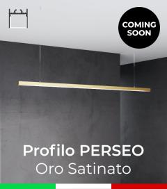 """Profilo in Alluminio da Sospensione """"Perseo"""" 37x37mm per Strisce LED - Oro Satinato"""