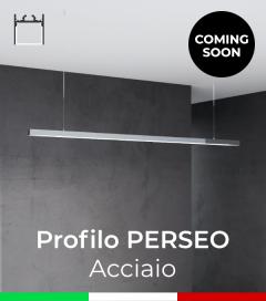 """Profilo in Alluminio da Sospensione """"Perseo"""" 37x37mm per Strisce LED - Acciaio Lucido"""