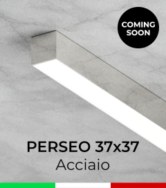 """Profilo Piatto in Alluminio """"Perseo"""" 37x37mm per Strisce LED - ACCIAIO Lucido"""