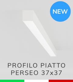 """Profilo Lineare in Alluminio """"Perseo"""" 37x37mm per Strisce LED - Verniciato BIANCO RAL9010"""