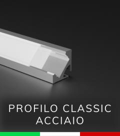 Profilo in Alluminio Angolare 45° Design Classic per Strisce LED - ACCIAIO Lucido