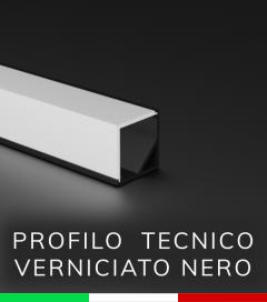Profilo in alluminio angolare 45° Design Tecnico per Strisce LED - Verniciato NERO OPACO