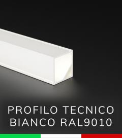 Profilo in alluminio angolare 45° Design Tecnico per Strisce LED - Verniciato BIANCO