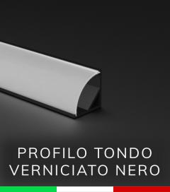 Profilo in alluminio angolare 45° Design Tondo per Strisce LED - Verniciato NERO OPACO