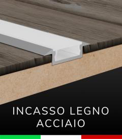 """Profilo in Alluminio Piatto da Incasso """"Slim"""" per Strisce LED - ACCIAIO Lucido"""